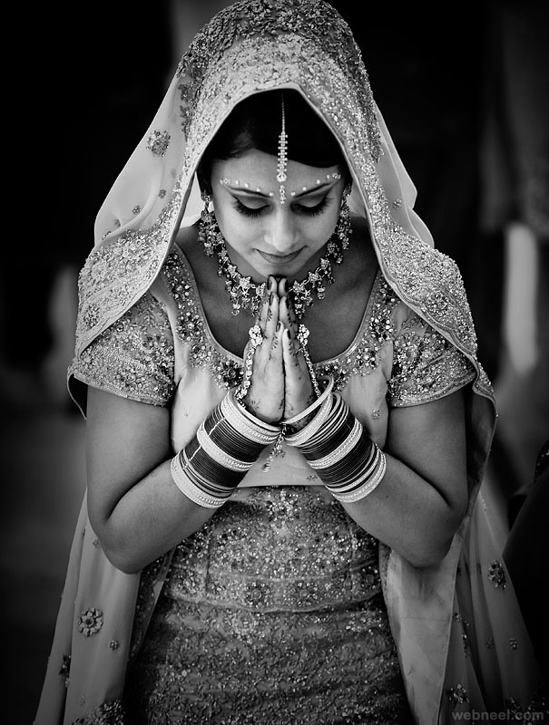 beautiful indian woman black and white photography