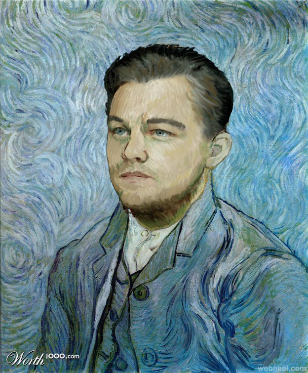 leodicaprio old art celebrity painting by vincent
