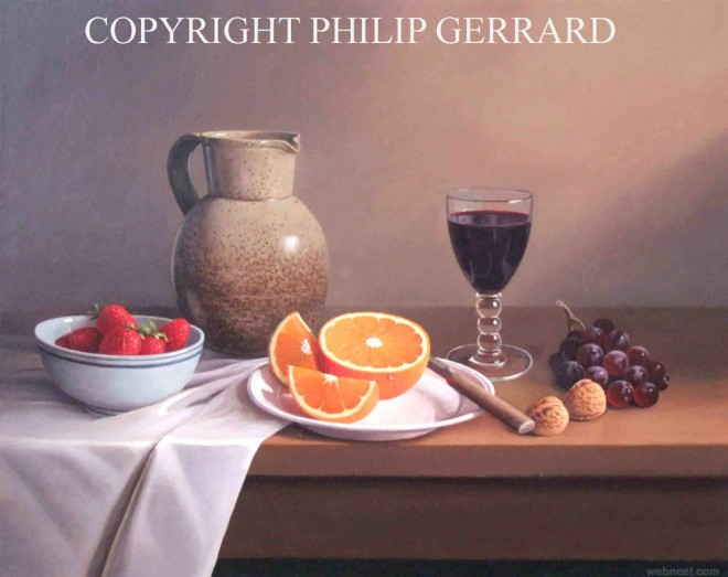 orange fruit still life painting by philip gerrard