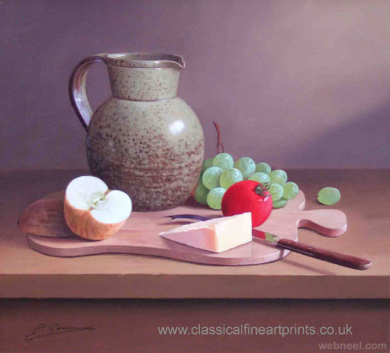 fruit and cheese still life painting by philip gerrard