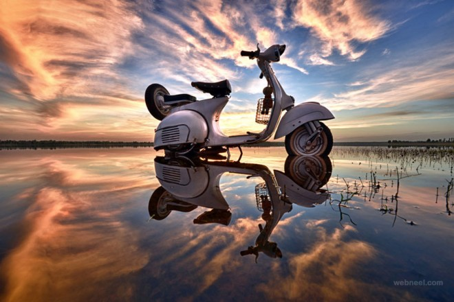 scooter water reflection photography by sarawut