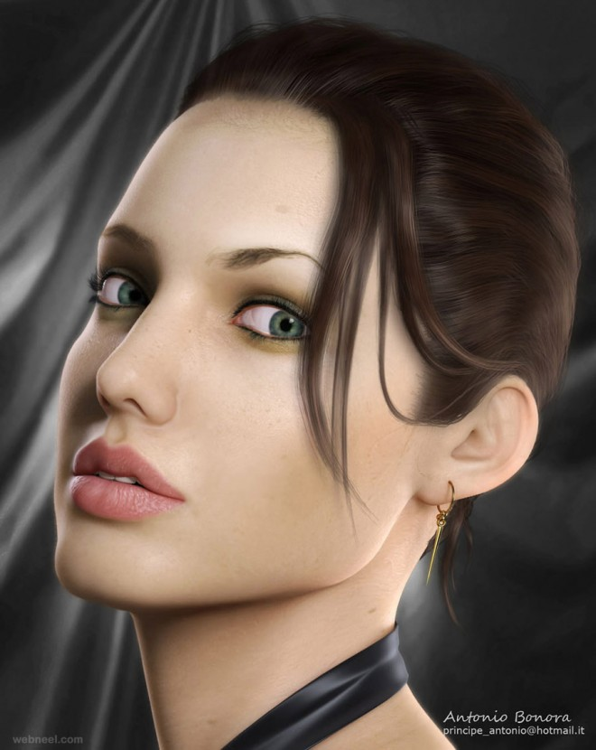 angelina jolie 3d celebrity character design