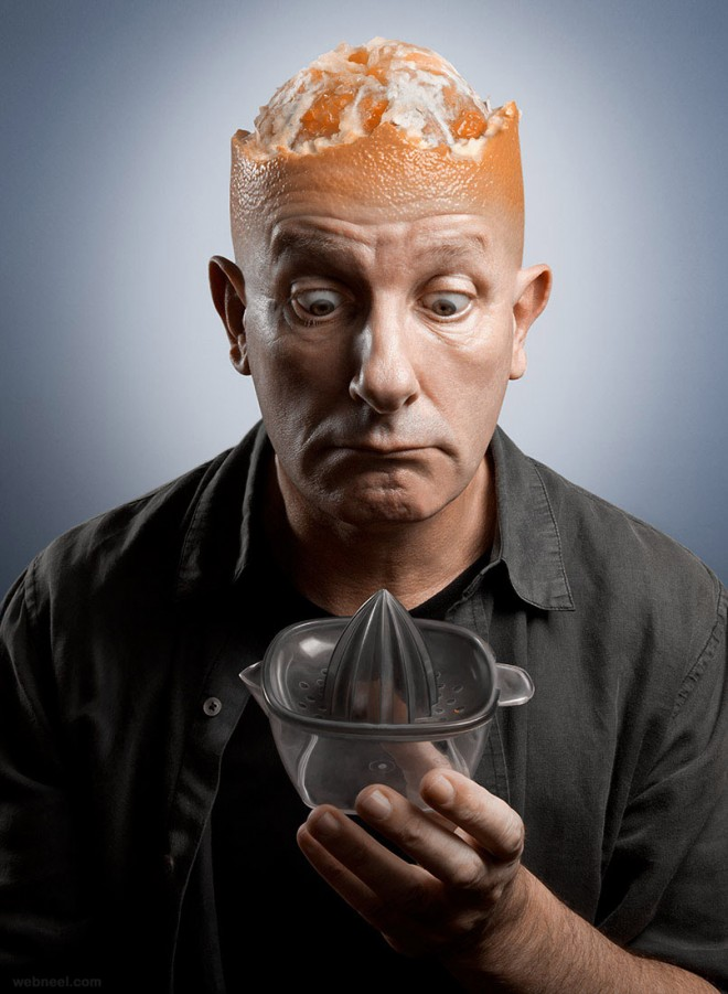 brain head orange photo manipulation by pierre beteille