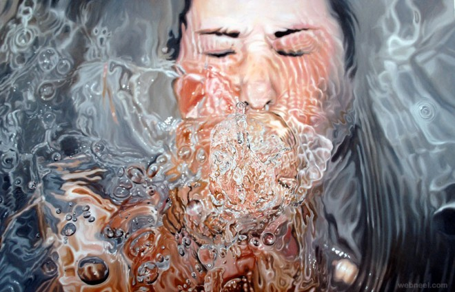 drowning realistic painting by linnea strid