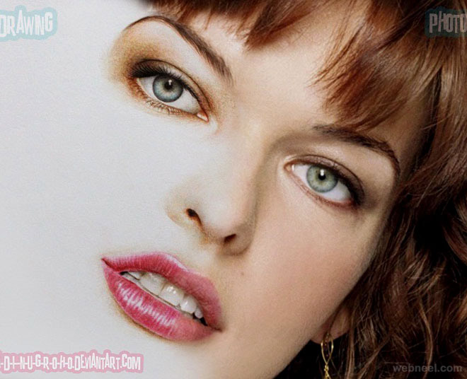 milla jovovich photo realistic color pencil drawing by adinugroho
