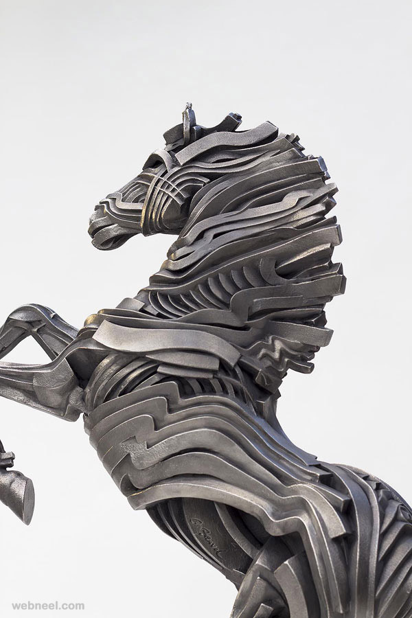 horse steel scultpure by gil bruvel