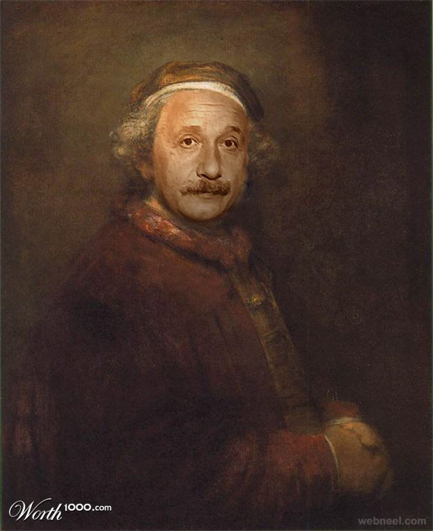 einstein rembrandt old art celebrity painting by intox1k