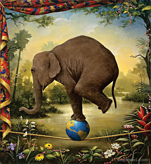 elephant surreal painting by kevin sloan