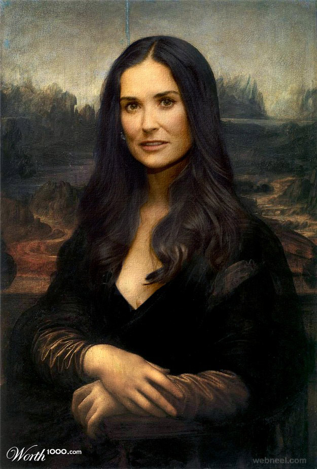 demi moore monalisa old art celebrity painting by mandrak