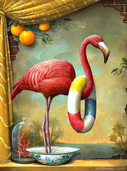 flamingo surreal painting by kevin sloan