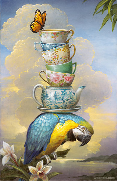 parrot surreal painting by kevin sloan