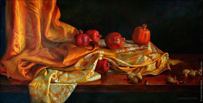 pomegranate still life painting by vsevolod shvayba