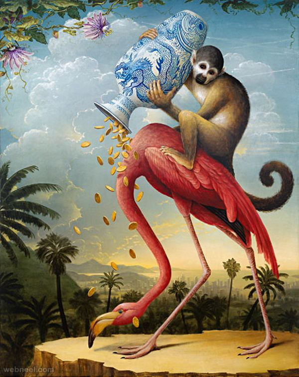 monkey surreal painting by kevin sloan