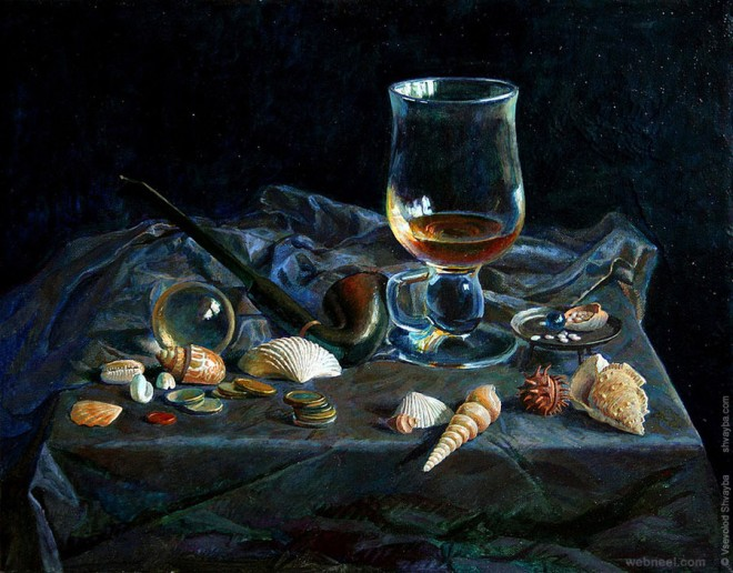 sea shell still life painting by vsevolod shvayba