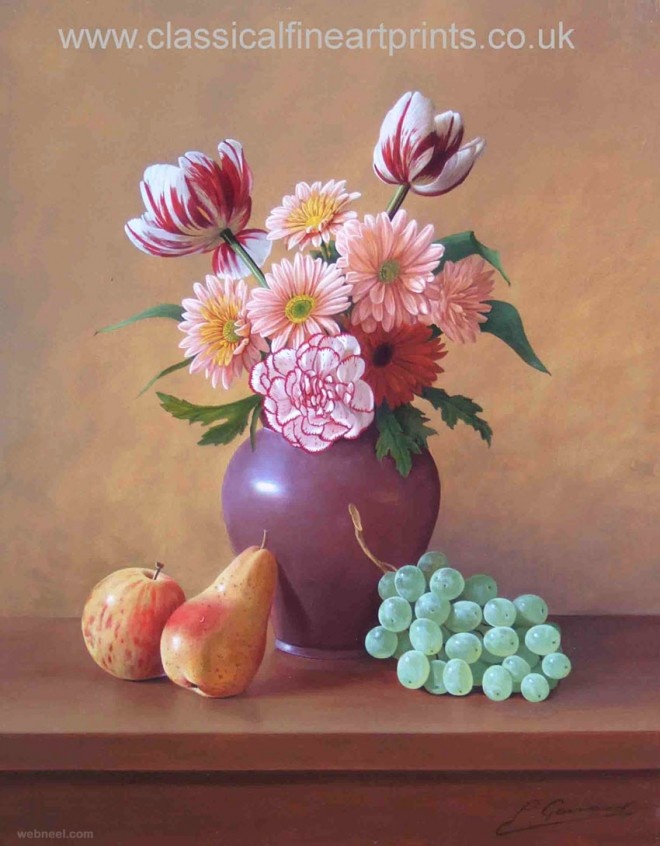 fruit and flowers still life painting by philip gerrard