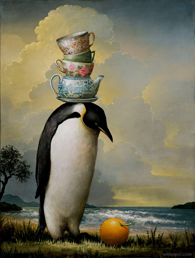 penguin surreal painting by kevin sloan
