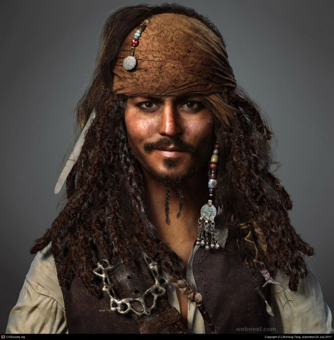 3d pirates caribbean character design by zhiheng tang