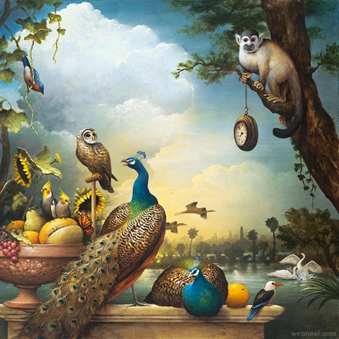 forest surreal painting by kevin sloan