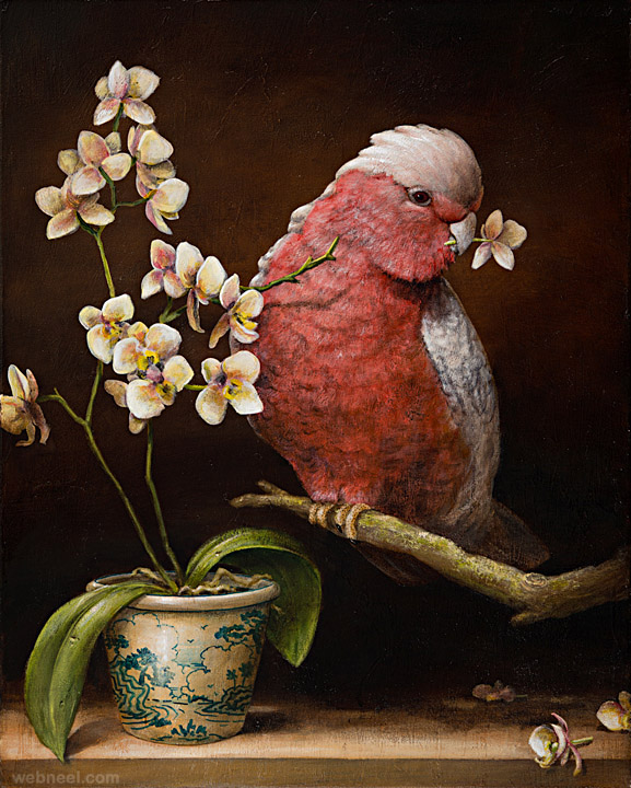 bird surreal painting by kevin sloan