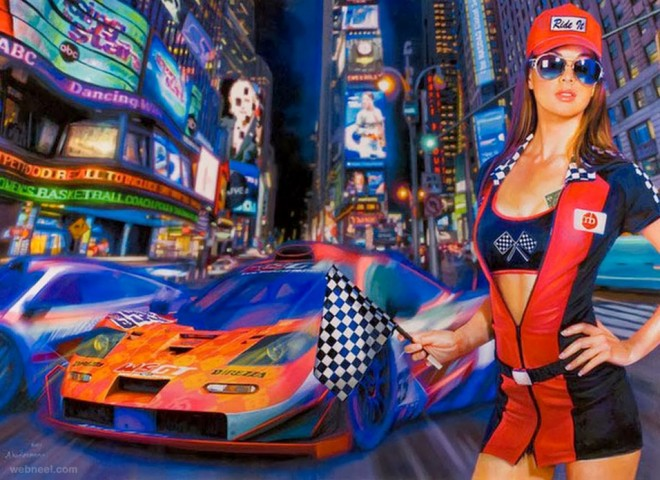 race in the city painting by tos kostermans