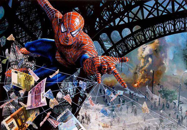 spideman euro crisis paris painting by tos kostermans