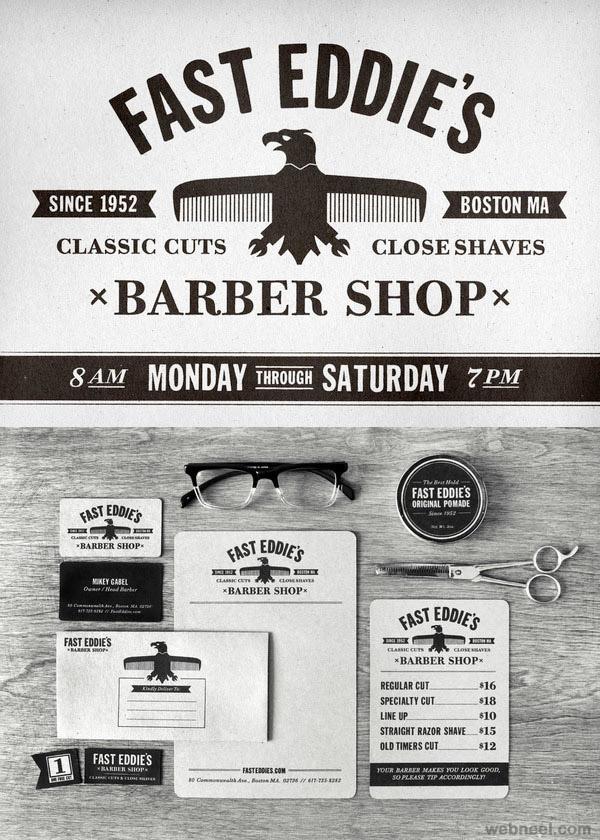 fast eddie barber shop branding identity design