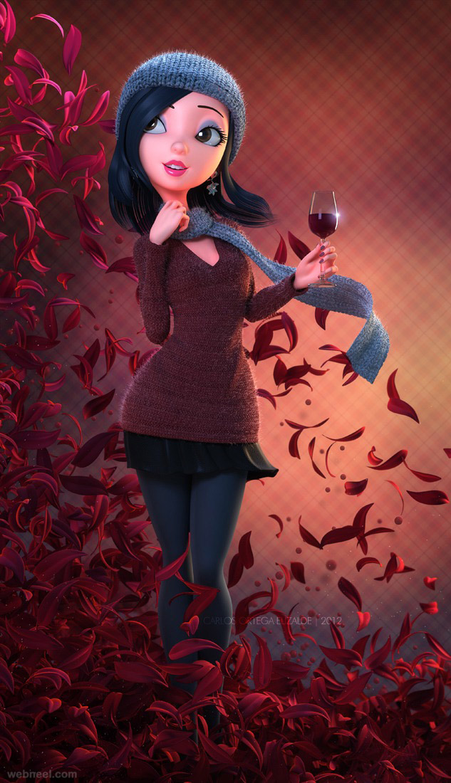 3d cartoon girl character