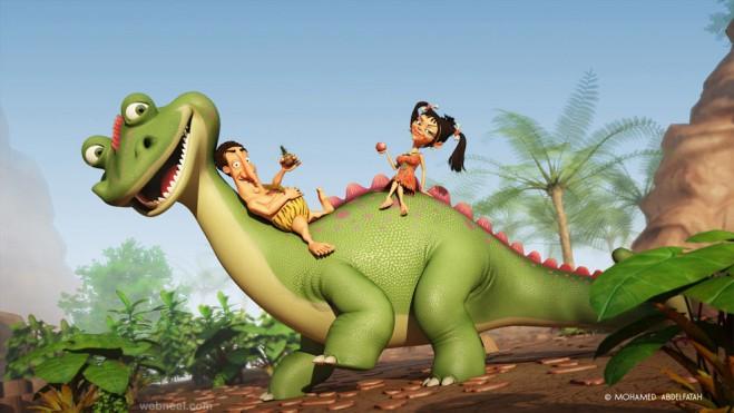 dinosaur 3d cartoon mohamed abdelfatah