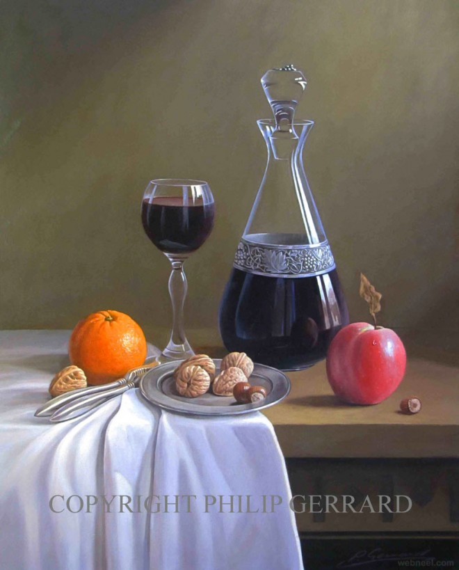 wine fruit nuts still life painting by philip gerrard