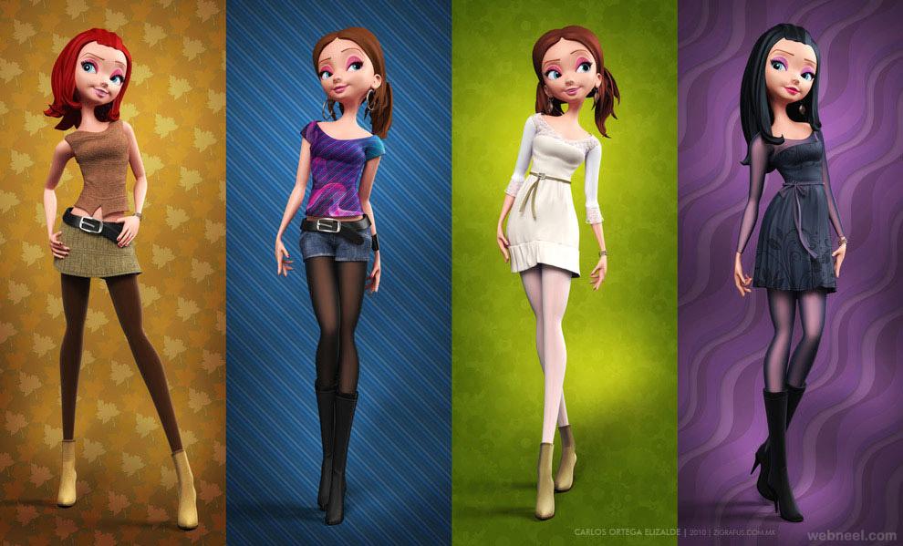 3d cartoon girl character