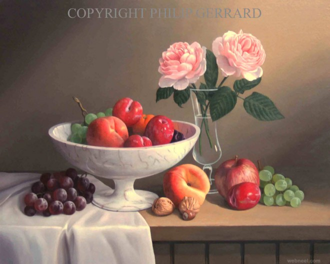 fruit flowers still life painting by philip gerrard