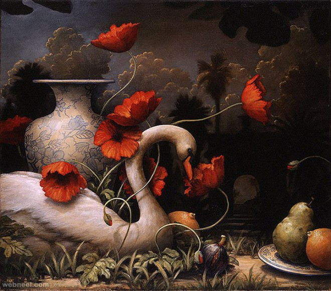 swan surreal painting by kevin sloan