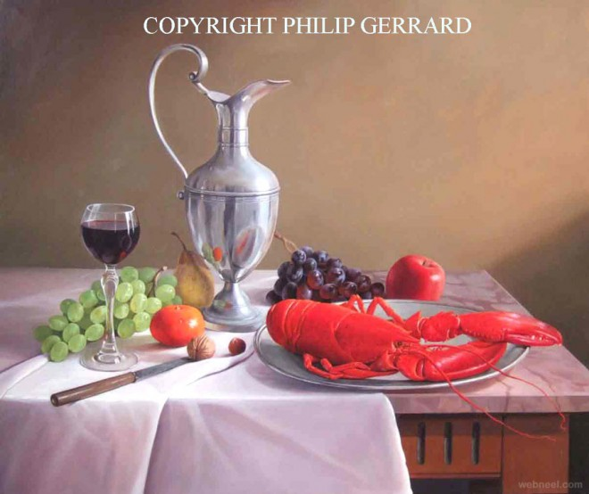 lobster still life painting by philip gerrard