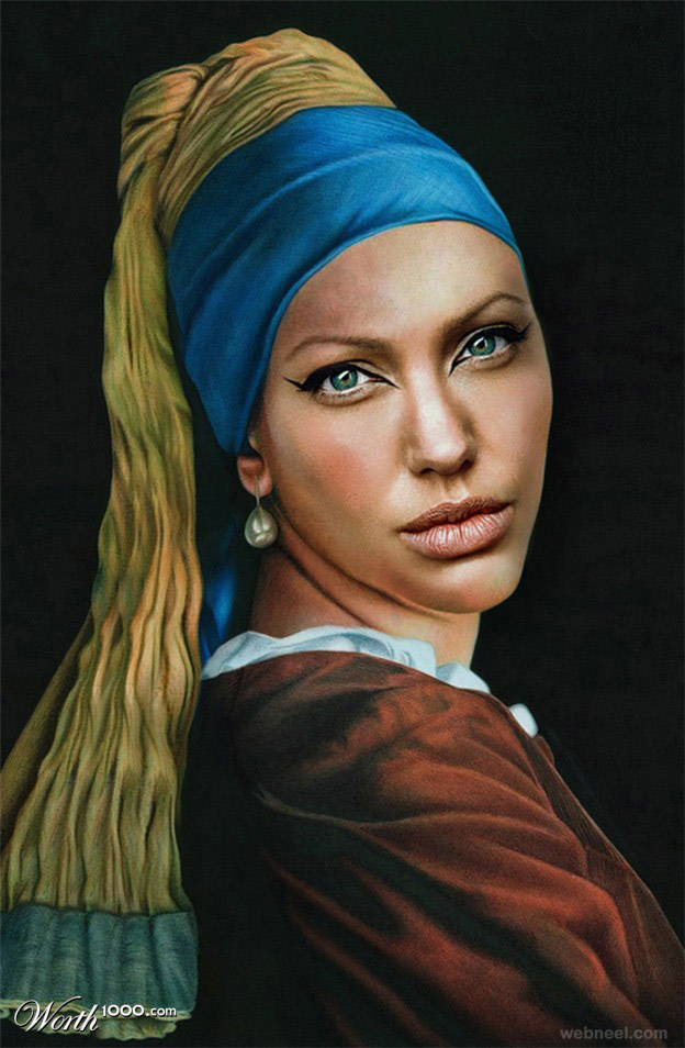 angelina jolie old art celebrity painting by pixjockey