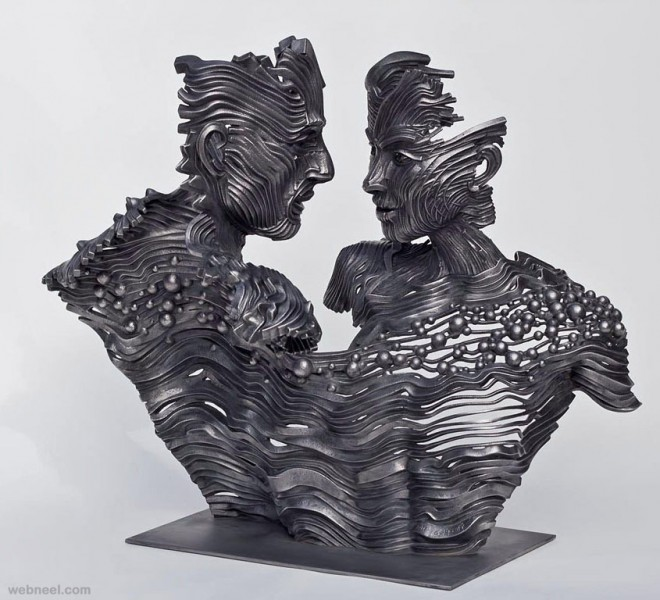 couple steel scultpure by gil bruvel