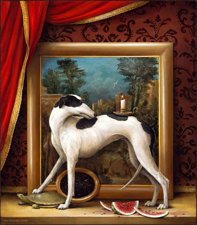 dog surreal painting by kevin sloan