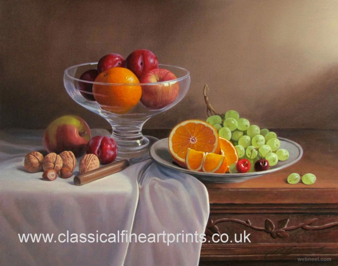 fruits on a table still life painting by philip gerrard