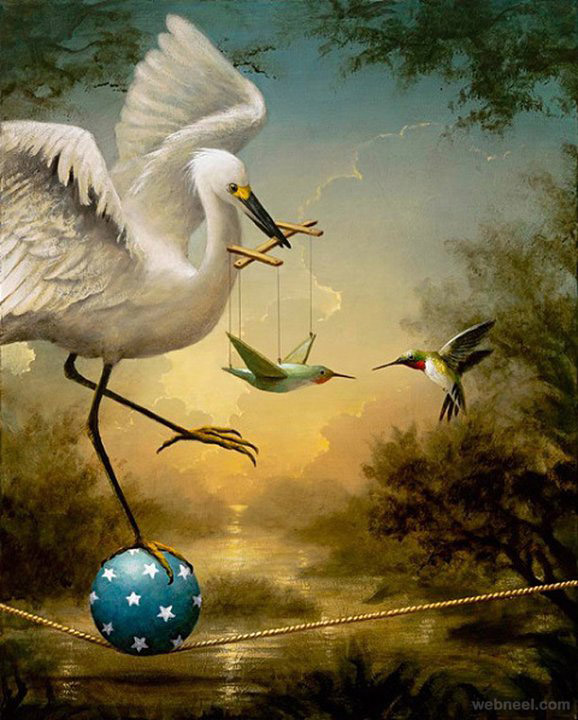 birds surreal painting