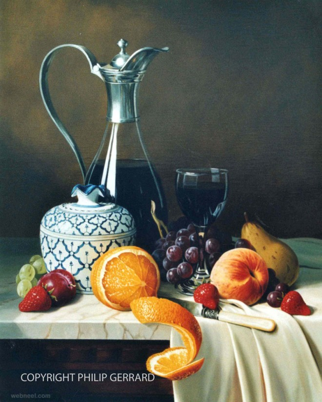 fruits still life painting by philip gerrard
