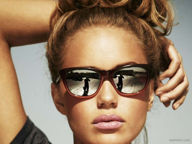 blondes woman sun glass reflection photography