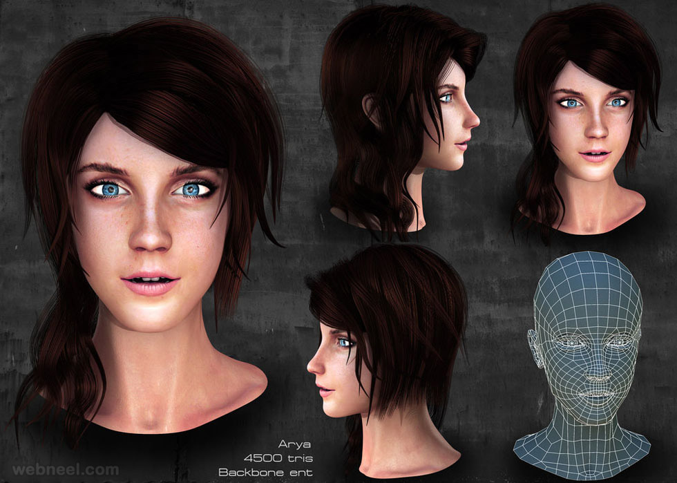 3d model woman by kaely