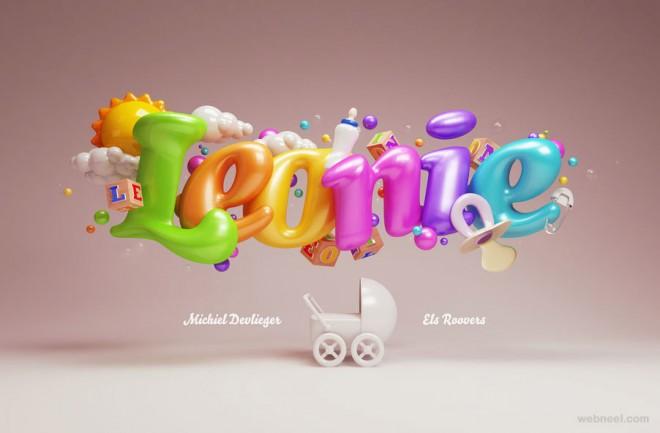 typography art 3d design