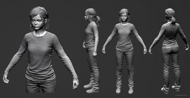 3d girl woman model full view