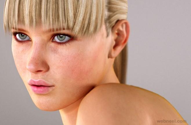3d girl model character by lastonedown