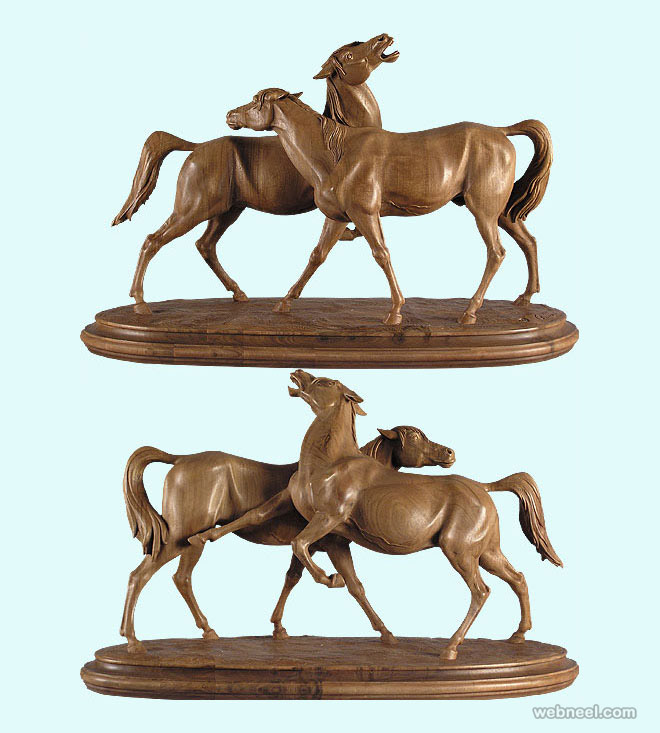 horse animal wood sculpture by giuseppe rumerio