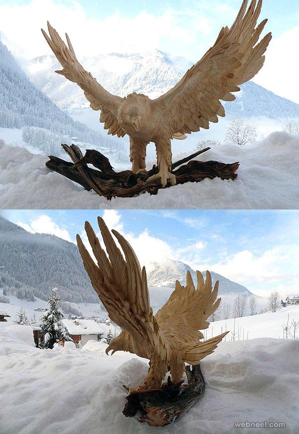 eagle animal wood sculpture by giuseppe rumerio