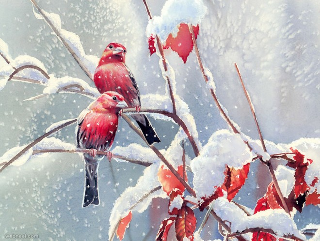 bird watercolor painting by sdbourdet