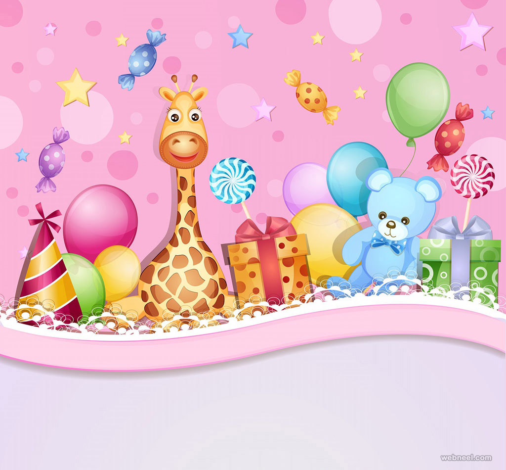 kids birthday greetings card design