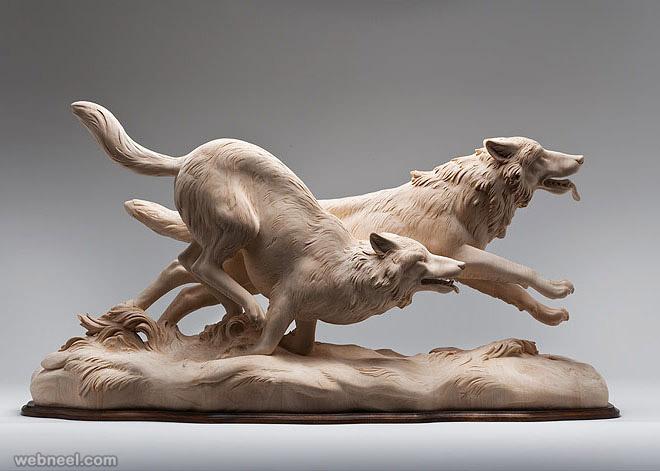 animal wooden sculpture by giuseppe rumerio