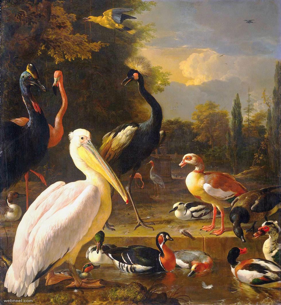 bird painting by melchior dhondekooten